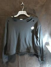Womens Black Destroyed Sweatshirt, Size Small, Mossimo, NEW