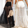 Women Swimwear Sheer Mesh Skirt Bikini Cover Up Beach Maxi Wrap Long Skirt Dress
