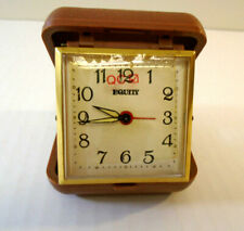 Equity Vintage (1930/69) Travel Alarm Clock Brown Plastic Case