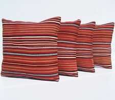 """DECORATIVE PILLOWS COVER RED HAND WOVEN TURKISH SQUARE WOOL AREA RUGS 16""""X16"""""""