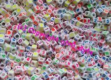 100 blanco y números de color mezclado Cubo Cuentas 6 mm para la fabricación de joyas