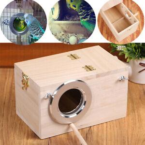 Wooden Bird Breeding Nest Box Parakeet Budgie Cockatiel Cage Nesting Window USA