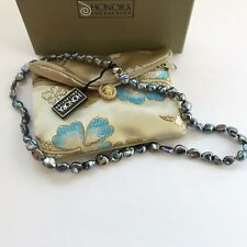 Honora Baroque Pearl Necklace Peacock Blue Green 925 clasp