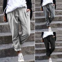ZANZEA Femme Pantalon Coton Deux Poche elastico  Boutons Loisir Longue Plus