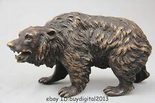 "6"" Chinese China Folk Pure Bronze Selenarctos thebetanus black bear Statue Sculp"