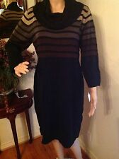 CONNECTED APPAREL Cowl Neck Black Sweater Dress, Size Large, NWT