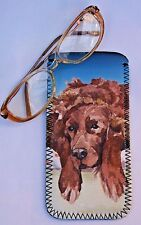 IRISH SETTER DOG NEOPRENE GLASS CASE POUCH  SANDRA COEN ARTIST WATERCOLOUR ART