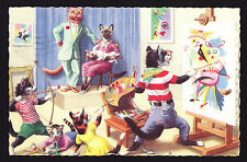 Artist Designed Postcard Cats Painting Art Studio Classroom Teacher? Posted 1961