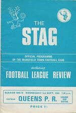 MANSFIELD TOWN v QUEEN PARK RANGERS LEAGUE CUP 2ND ROUND SEPT 1969 PROGRAMME