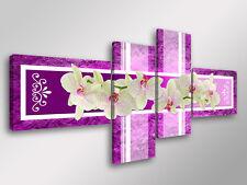 Quadro Moderno 4 pz. ABSTRACT ORCHIDS cm 160x70 arredamento fiori stampa su tela