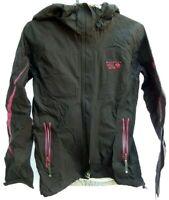 Mountain Hardwear Womens Rain Shell Jacket Hooded Black Pink XS