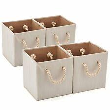 4 Storage Bins with Cotton Rope Handle Storage Basket Box Organizer 10.5in cubes