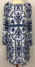 Vince Camuto Blue White Printed Long Sleeve Shift Dress Exposed Zipper Size 12