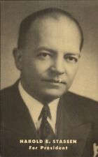 US Presidential Candidate Harold E. Stassen President 1952 Campaign Postcard gfz