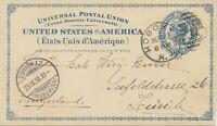 "USA 1893 2C dunkelblau Liberty GA-Postkarte ""HOBOKEN / N.J.""-Duplex SPARSCHRIFT"