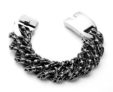 【from USA】Biker Gothic Rocker SKULL 8.5 inch Titanum Stainless Steel Bracelet