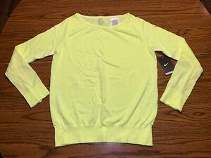 NWT Women's Nike Dri-Fit Epic Crew Long Sleeve Shirt Size Medium 589296-702 Volt