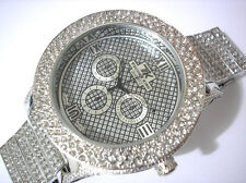 Silver Tone Metal Big Case & Band Techno King Men's Watch w Crystals Item 3741