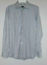 ETON Mens White blue/gold stripe Contemporary Fit button shirt 35 3/4 40 (Large)