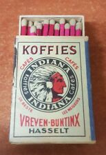 Belgium Old Vintage Full Matchbox Koffies Cafe Indian Head