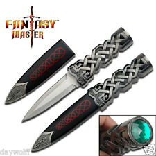 Athame  Fantasy Celtic Stainless Steal Blade, Dagger Ritual Knife, Green Stone