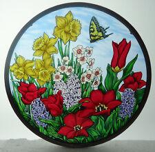 Glassmasters Spring Flowers and Butterfly Maryrose Wampler Art Glass Suncatcher