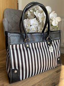 Henri Bendel Rare Striped Tote Leather trim Shoulder Bag Handbag