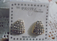 """Clip On Earrings 1/2"""" Triangle Pave Gold Tone"""