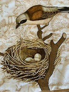 """PAIR OF POTTERY BARN Embroidered Bird Throw Pillow Covers 20"""" X 20"""" Square"""