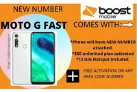Boost Mobile Moto G Fast 32GB  FREE MONTH INCLD. ACTIVATED NEW NUMBER ONLY!
