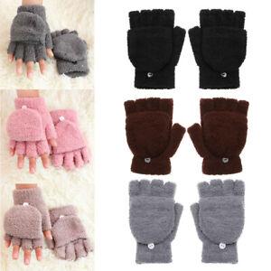 Boys Girls Kids Gloves Coral Velvet Dual-use Clamshell Half Finger Gloves