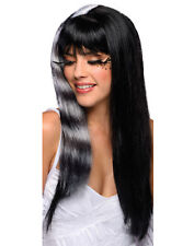 Womens Kitty Cat Wig Black White Striped Streaked Raccoon Sexy Long Hair Adult