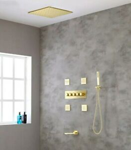"""Thermostatic Brushed Gold Shower System Tub Spout Faucet Set 20"""" Shower Head"""