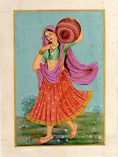 Hand Painted Miniature Painting Of Rajasthani Lady Holding A Pot Pitcher Finest