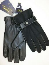 NWT $128 RALPH LAUREN Size XL Men's Black Wool Leather TOUCH SCREEN Dress Gloves