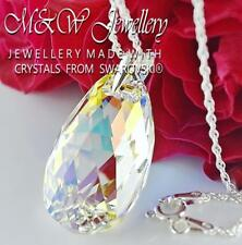 925 Silver Necklace PEAR/ALMOND Crystal AB 28mm Crystals From Swarovski®
