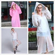 Transparent Women Hooded Raincoat PVC Waterproof Poncho Coat Long Sleeve PINK
