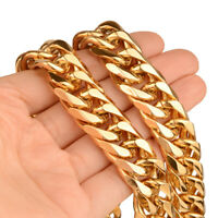 16mm Fashion Gold Plated Curb Cuban Link Men Chain Necklace 316L Stainless Steel