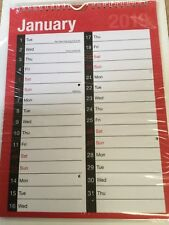 2019 A4 RED AND BLACK CALENDAR  2 COLUMN ROOM TO WRITE MONTH TO VIEW