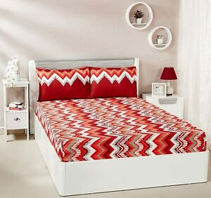 Abstract Waves 144 TC 100% Cotton Double Bedsheet with 2 Pillow Covers, Red