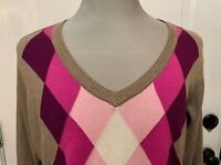 Women's St. John's Bay Argyle Sweater Size 2X Brown Pink Cream Pullover V-Neck