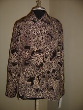 Claudia Richard Brown Flower Printed Button Front Career Top new med