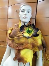 SCARF LONG FELTED WOOL CHIFFON MADE IN EUROPE FLOWER BROOCH HOLIDAY GIFT IDEAS