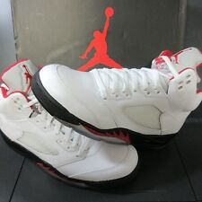 NIB RARE🔥 JORDAN RETRO V 5 WHITE RED BLACK SILVER MEN 9.5 136027-100