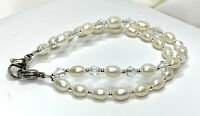 New Double Strand White Pearl & Crystal Medical ID Alert Replacement Bracelet