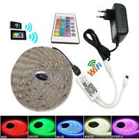 1-10M RGB 5050 SMD Waterproof 30Led/m Light Strip + WIFI IR Remote 12V Power