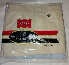 Vintage New Old Stock Hanes Broadcloth Boxer Shorts 3-Pack White Lt Blue 30 Nip