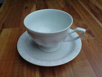 """Kaffeetasse mit Unterteller """"MARIA WEISS"""" / """"CLASSIC ROSE"""" von ROSENTHAL"""