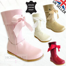 GIRLS SPANISH STYLE BOOTS REAL LEATHER RIBBON PATENT ZIPPED UK5-3 PINK IVORY RED