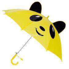 Animal Ears Yellow Panda Kids Children Anti-UV Sun Rain Hook Umbrella W/ Whistle